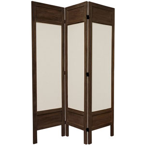 5 1/2 Ft. Tall Solid Frame Fabric Room Divider Burnt Brown Three Panel, Width - 51.75 Inches