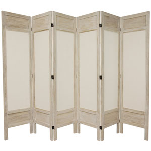 5 1/2 Ft. Tall Solid Frame Fabric Room Divider Burnt White Six Panel, Width - 17.25 Inches