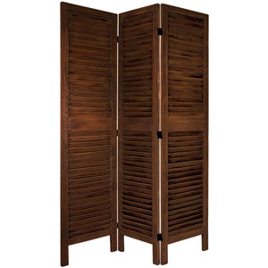 5 1/2 Ft. Tall Classic Venetian Room Divder Burnt Brown Three Panel, Width - 49.5 Inches