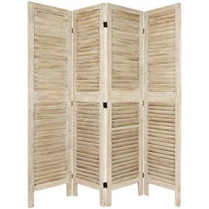 5 1/2 Ft. Tall Classic Venetian Room Divder Burnt White Four Panel, Width - 16.5 Inches