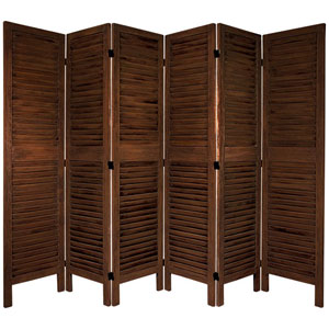 5 1/2 Ft. Tall Classic Venetian Room Divder Burnt Brown Six Panel, Width - 16.5 Inches
