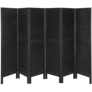 5 1/2 ft. Tall Modern Venetian Room Divider - 6 Panels - Black