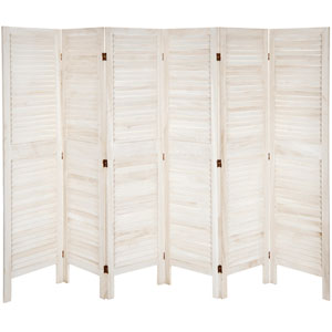 5 1/2 ft. Tall Modern Venetian Room Divider - 6 Panels - White