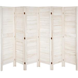 5 1/2 ft. Tall Modern Venetian Room Divider - 6 Panels - White