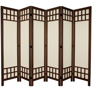 5 1/2 Ft. Tall Window Pane Fabric Room Divider Burnt Brown Six Panel, Width - 17.25 Inches