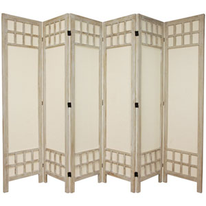 5 1/2 Ft. Tall Window Pane Fabric Room Divider Burnt White Six Panel, Width - 17.25 Inches
