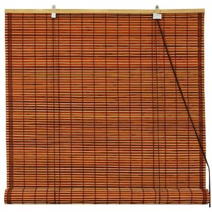 Mahogany Red Burnt Bamboo Roll Up Blind