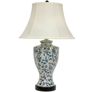 27-inch Blue and White Flower Vine Lamp