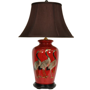 26-inch Red Crowned Cranes Vase Lamp