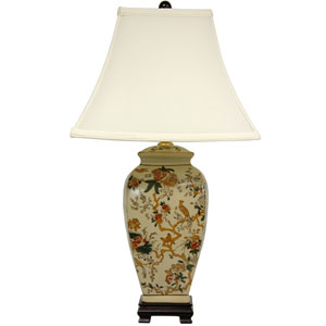 25-inch Autumn Birds and Flowers Vase Lamp
