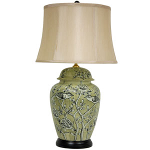 25-inch Jade Green Birds and Flowers Lamp