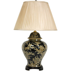 28-inch Black and Tan Floral Bouquet Vase Lamp