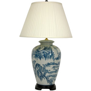 29-inch Blue and White Chinese Landscape Lamp