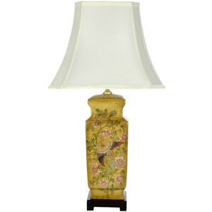27.5-inch Birds and Flowers Wooden Design Porcelain Lamp