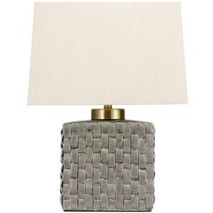 23-inch Basket Weave Gray Porcelain Jar Lamp