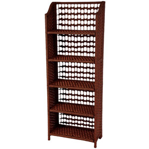 53 Inch Natural Fiber Shelving Unit Mahogany, Width - 19.5 Inches