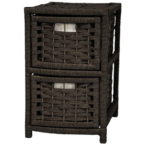 17-inch Natural Fiber Occasional Chest of Drawers - Black