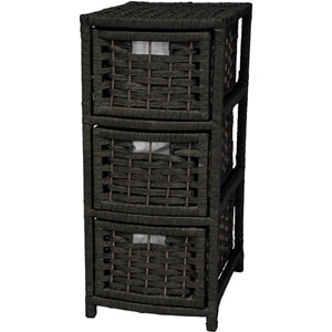 25 Inch Natural Fiber Occasional Chest of Drawers Black, Width - 11 Inches