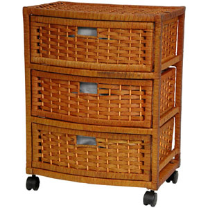 23 Inch Natural Fiber Chest of Drawers Honey, Width - 13 Inches