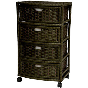 29 Inch Natural Fiber Chest of Drawers Black, Width - 13 Inches