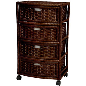 29 Inch Natural Fiber Chest of Drawers Mocha, Width - 13 Inches