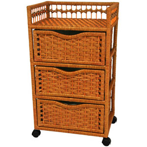31 Inch Natural Fiber Chest of Drawers on Wheels Honey, Width - 17 Inches