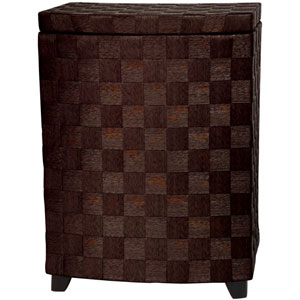 27 Inch Natural Fiber Laundry Hamper Mocha, Width - 15 Inches