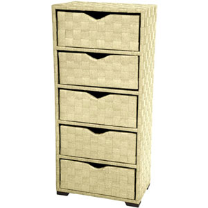 25 Inch Natural Fiber Chest of Drawers White, Width - 19 Inches