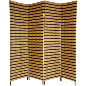 Six Ft. Tall Two Tone Natural Fiber Room Divider Four Panel, Width - 17.75 Inches