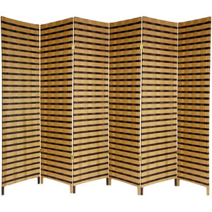 Six Ft. Tall Two Tone Natural Fiber Room Divider Six Panel, Width - 17.75 Inches