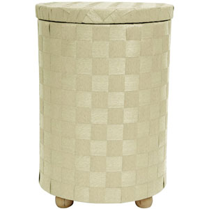 26 Inch Natural Fiber Laundry Hamper White, Width - 17.25 Inches