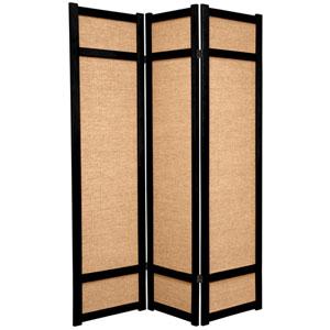 6-Foot Tall Jute Shoji Screen - 3 Panel - Black