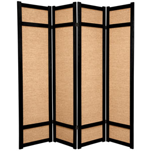 6-Foot Tall Jute Shoji Screen - 4 Panel - Black