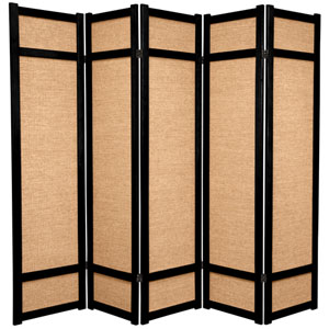 6-Foot Tall Jute Shoji Screen - 5 Panel - Black