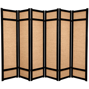 6-Foot Tall Jute Shoji Screen - 6 Panel - Black