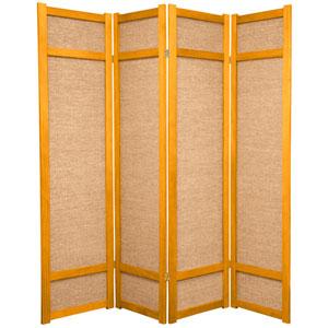 6-Foot Tall Jute Shoji Screen - 4 Panel - Honey(B)
