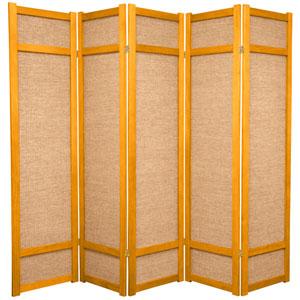 6-Foot Tall Jute Shoji Screen - 5 Panel - Honey