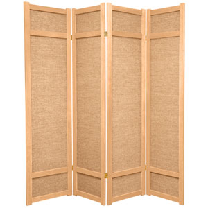 6-Foot Tall Jute Shoji Screen - 4 Panel - Natural