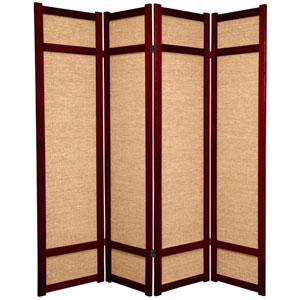 6-Foot Tall Jute Shoji Screen - 4 Panel - Rosewood