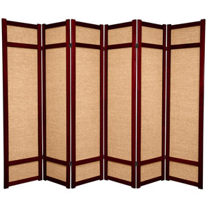 6-Foot Tall Jute Shoji Screen - 6 Panel - Rosewood