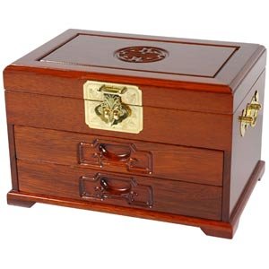 Merbu Oriental Jewelry Box with Two Drawers