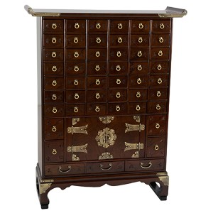 Korean Walnut Antique Style 49 Drawer Apothecary Chest