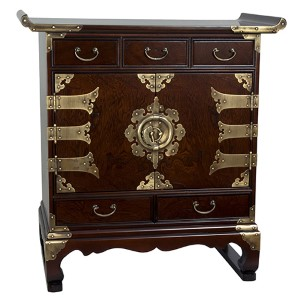 Korean Antique Walnut Style Five Drawer End Table Cabinet
