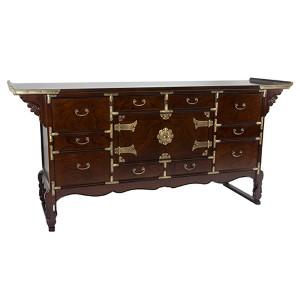 Korean Tansu Golden Bronze Style 13 Drawer Buffet Server
