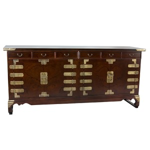 Korean Walnut Antique Style Eight Drawer Double Cabinet Credenza