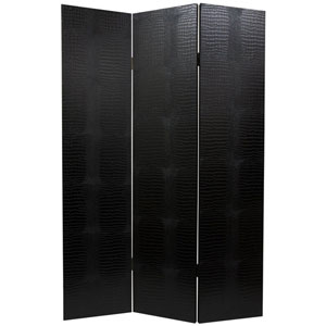 Faux Leather Black Crocodile Room Divider, Width - 47.25 Inches