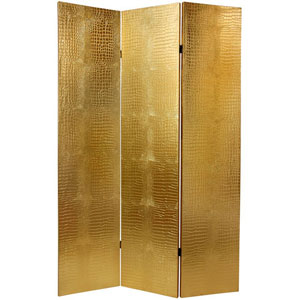 Six Ft. Faux Leather Gold Crocodile Room Divider, Width - 47.25 Inches