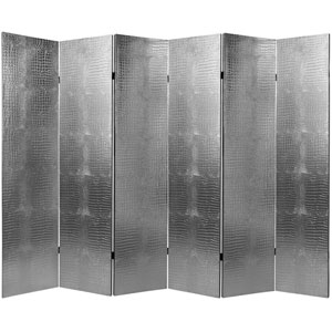 Six Ft. Tall Faux Leather Silver Crocodile Room Divider Six Panel, Width - 94.5 Inches