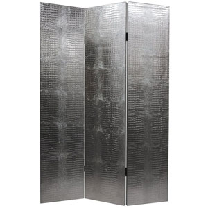 Faux Leather Silver Crocodile Room Divider, Width - 47.25 Inches