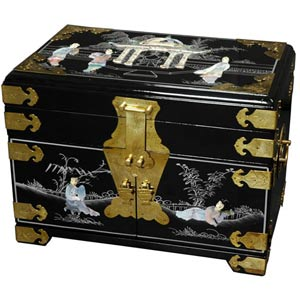 Daisi Black Jewelry Box with Mirror